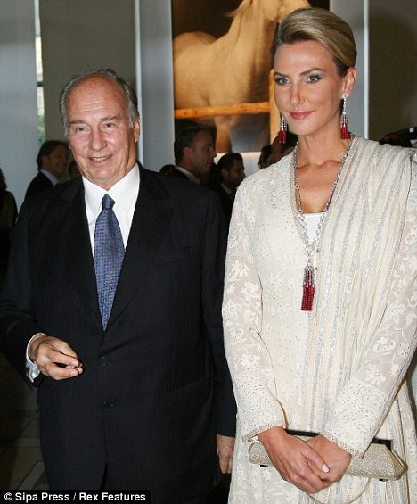 Aga Khan with his latest girlfriend, and possibly his third wife.