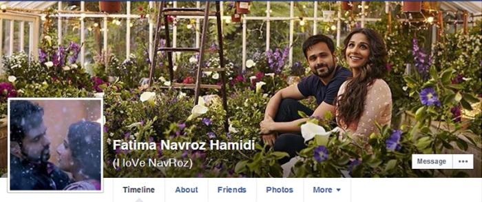 A screenshot of the Facebook profile of the girl — is a photograph of Indian actors Emran Hashmi and Vidya Balan from the recent film 'Humari Adhuri Kahani'
