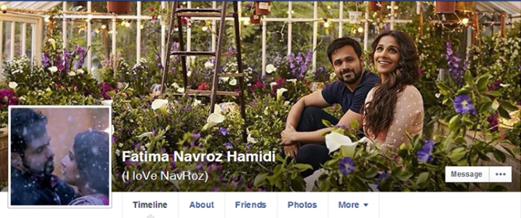 A screenshot of the Facebook profile of the girl — is a photograph of Indian actors Emran Hashmi and Vidya Balan from the recent film 'Humari Adhuri Kahani'