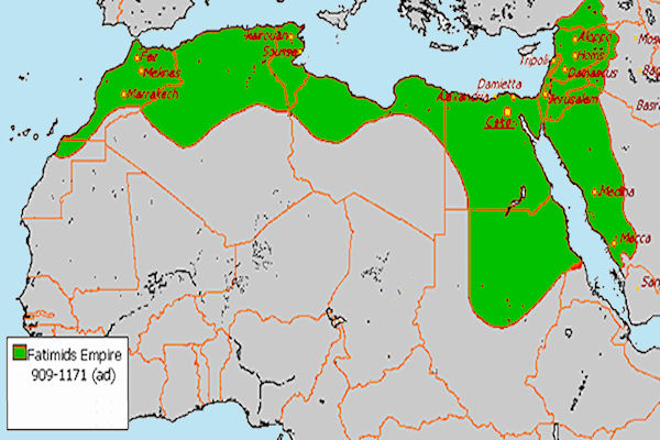 "The Fatimid ""caliphate"" at it's peak included some North African territories with Hejaz. (Courtesy: GlobalSecurity.org)"