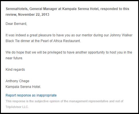 Kampala Serena Hotel Manager