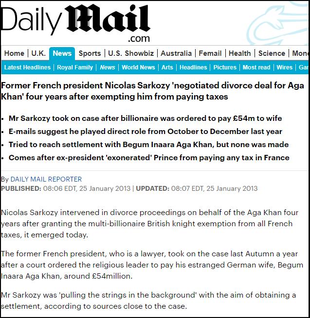 Sarkozy-Aga Khan Headline Divorce