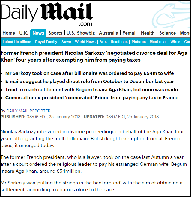 Sarkozy-Aga Khan Headline Divorce