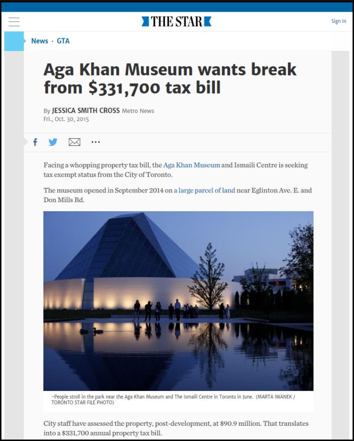 Updated Aga Khan Museum wants tax break - headline snapshot